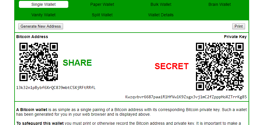 dwa klucze portfela kryptowalutowego - prywatny i publiczny oraz przypisane do nich kody QR