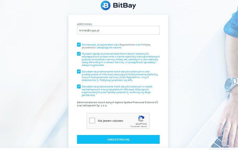 aby rozpocząć rejestrację na giełdzie kryptowalut bitbay przejdź na jej stronę, wpisz swój adres email i zaznacz potrzebne zgody