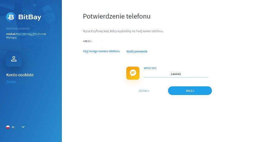 kolejny krok weryfikacji konta na giełdzie Bitbay