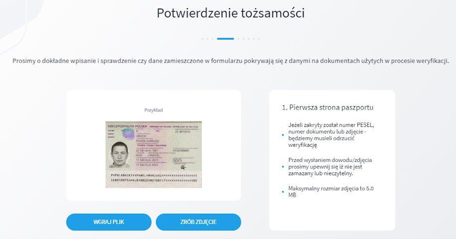 aby przejść przez weryfikację na giełdzie kryptowalut bitbay potrzebujemy przesłać zdjęcie dokumentu potwierdzającego naszą tożsamość