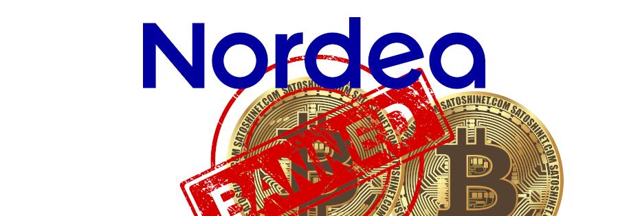 zakaza kryptowalut, przekreślony bitcoin, nordea