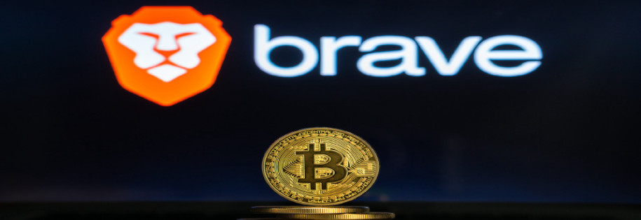 Brave logo over the bitcoin