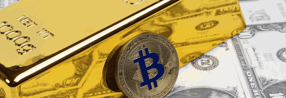 bar of gold & bitcoin