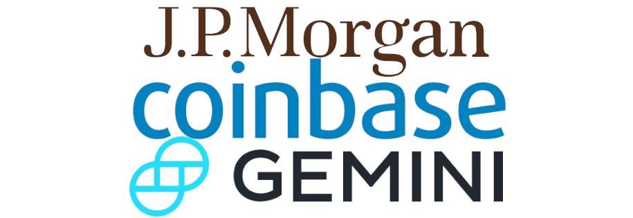 bank j.p.morga rozpoczął obsługę giełd kryptowalut coinbase i gemini