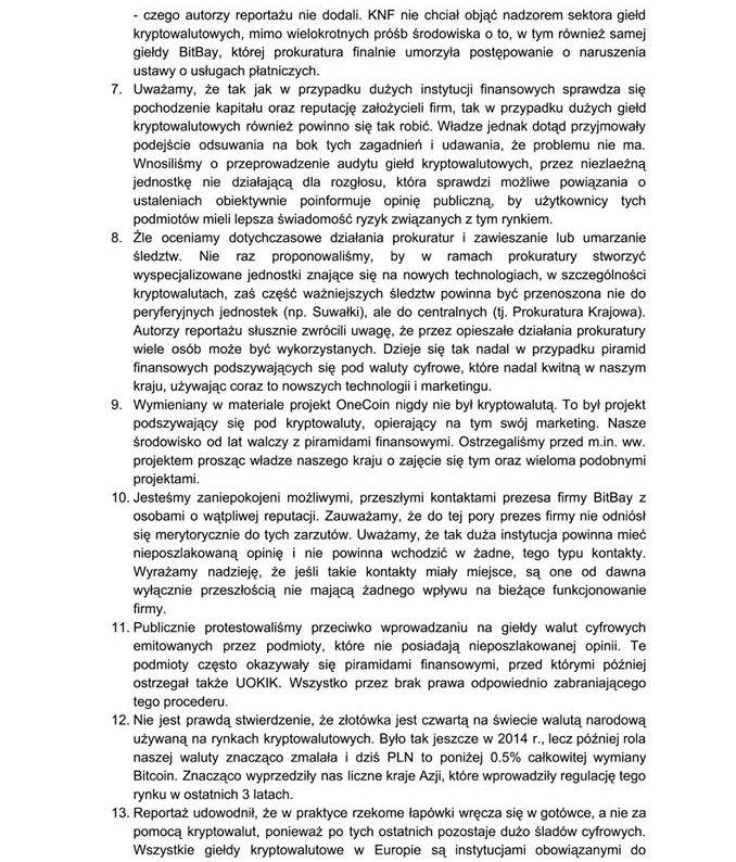 list polskiego stowarzyszenia bitcoin ws materiału superwizjera 2 - wypunktowanie błędów i manipulacji