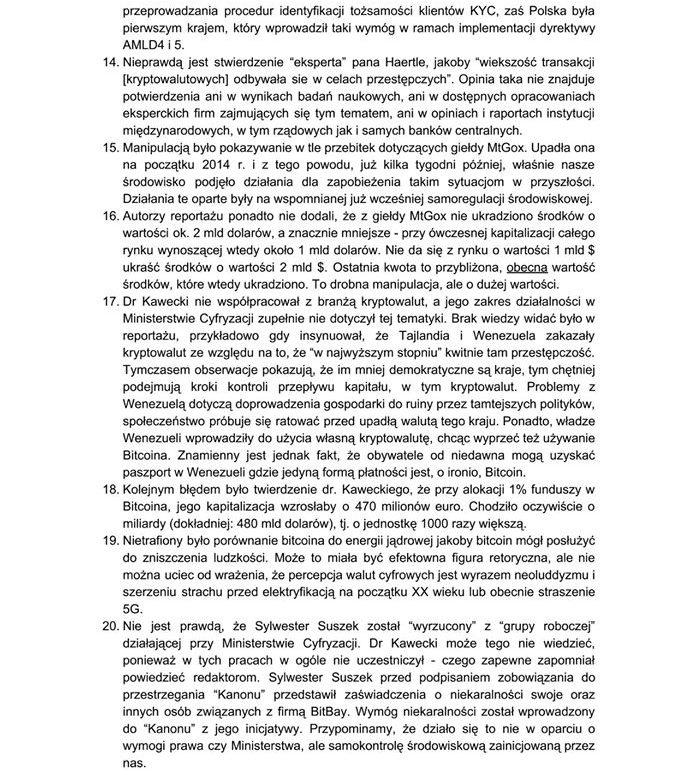 list otwarty psb do rządu, tvn24 i społeczności krypto