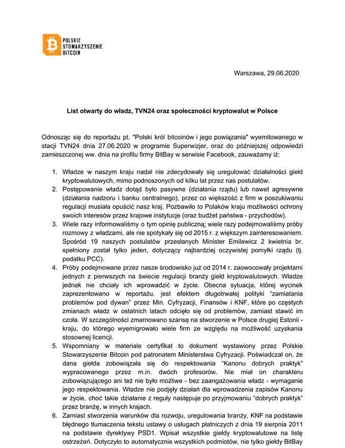 list polskiego stowarzyszenia bitcoin ws materiału superwizjera 1