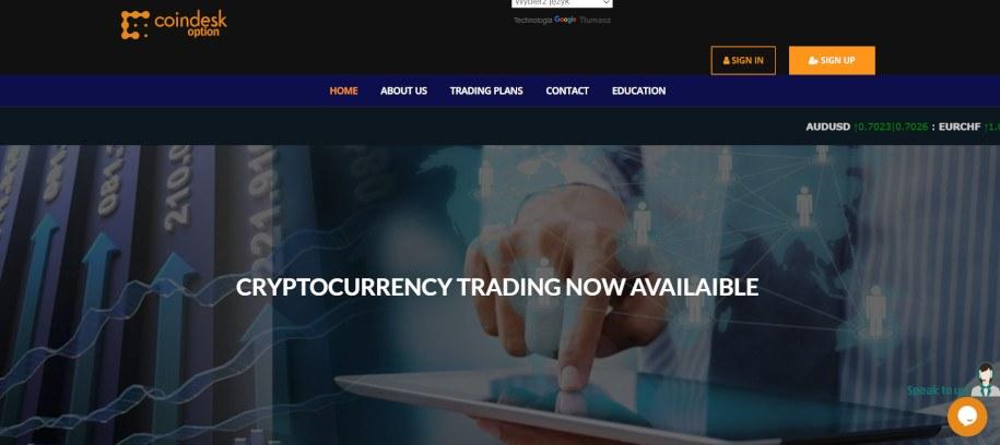 Strona główna nieuczciwego brokera CoinDeskOption