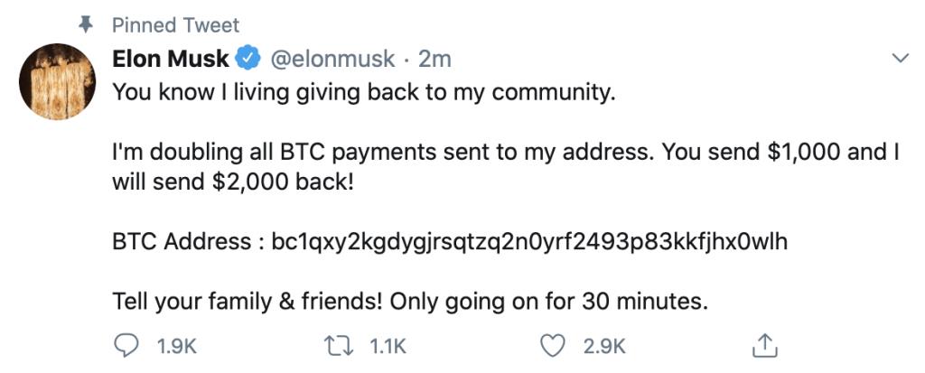 Elon Musk - scam - Twitter hacked