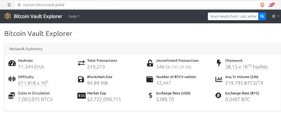 Bitcoin Vault Explorer