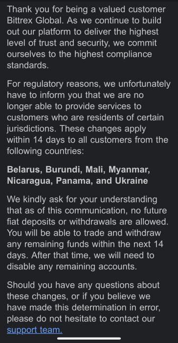 bittrex kończy obsługę klientów szeregu krajów