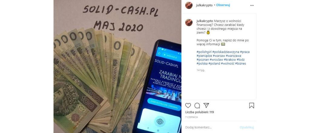 uwaga na zdjęcia pieniędzy na instagramie