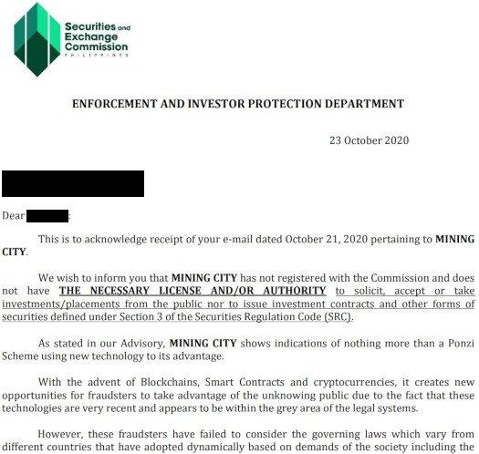 oświadczenie filipińskiego SEC, źródło: Behind MLM