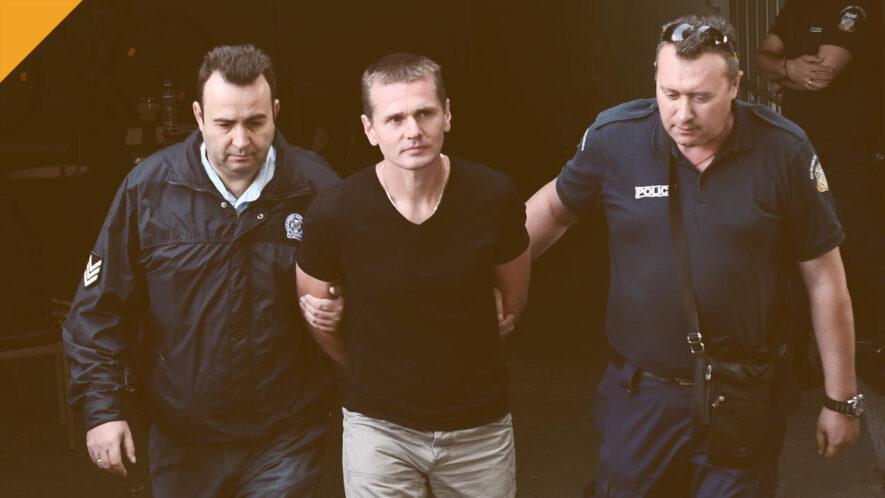 aleksander winnik skazany na 5 lat więzienia we francji - zdjęcie z aresztowania winnika w 2017 roku, bloomberg