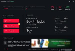 Gamerhash interface aplikacji na komputer