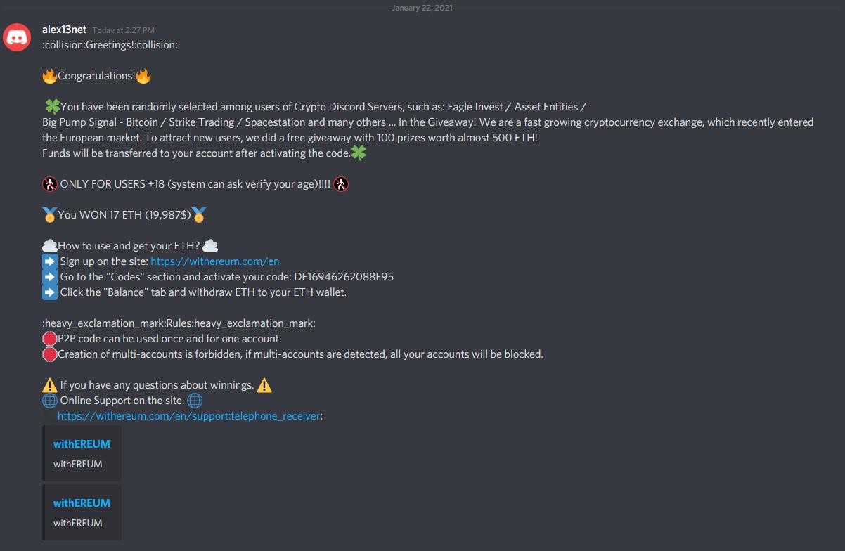 discord scam ostrzeżenie