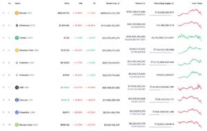 Spadki największych 10 kryptowalut pod względem kapitalizacji rynkowej