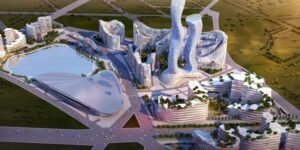 Wizualizacja futurystycznego miasta Akon City