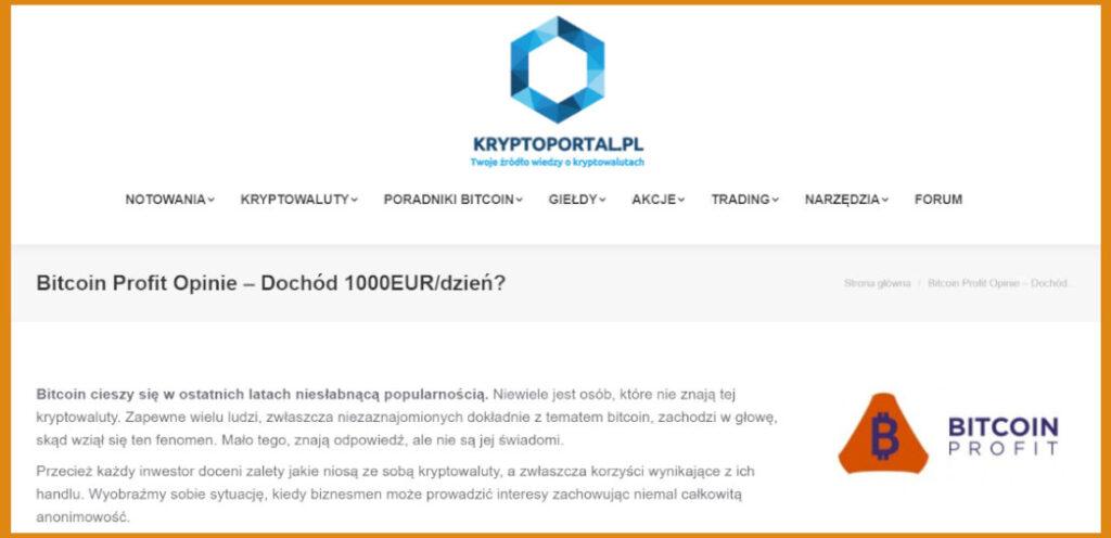 Fałszywe opinie na temat Bitcoin Profit znajdziemy m.in. na stronie kryptoportal.pl
