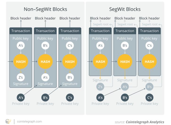 Różnica pomiędzy standardowymi blokami bitcoina a SegWitem, źródło: Cointelegraph