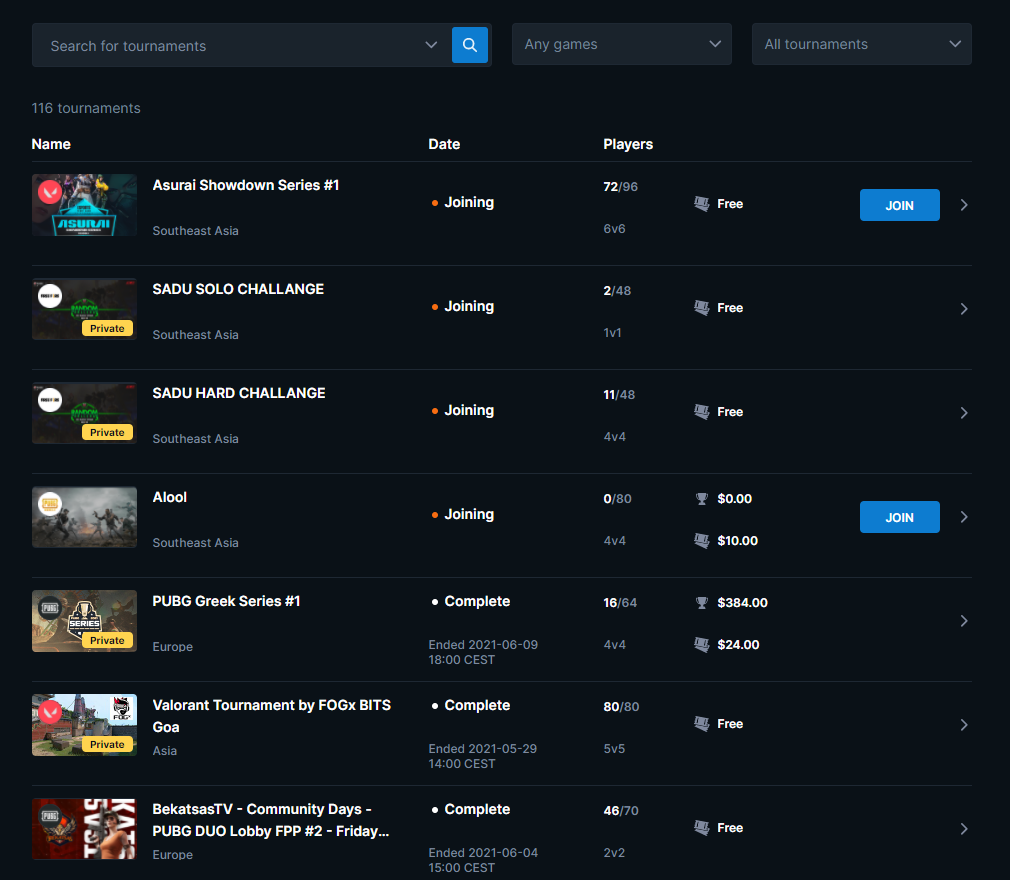 Interface EsportsFightClub