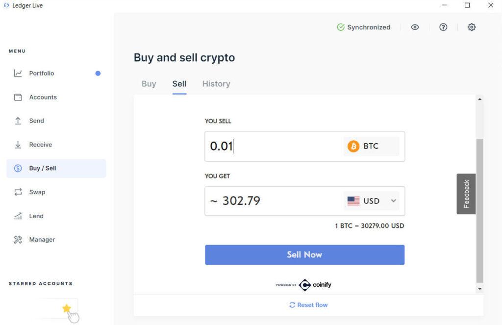 Sprzedaż bitcoina przez Ledger Live