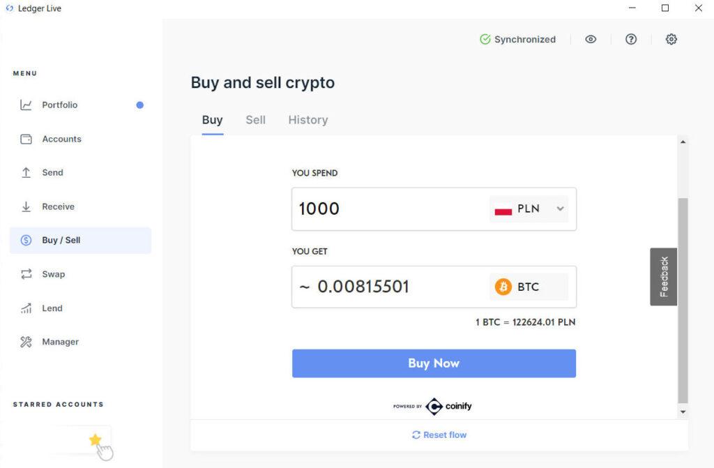 Kupno bitcoina przez Ledger Live