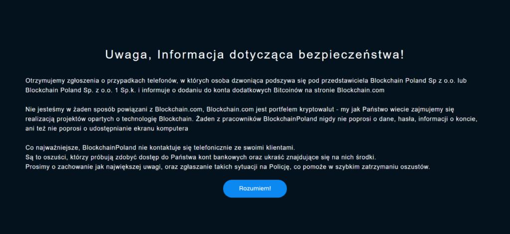 blockchain poland ostrzeżenie