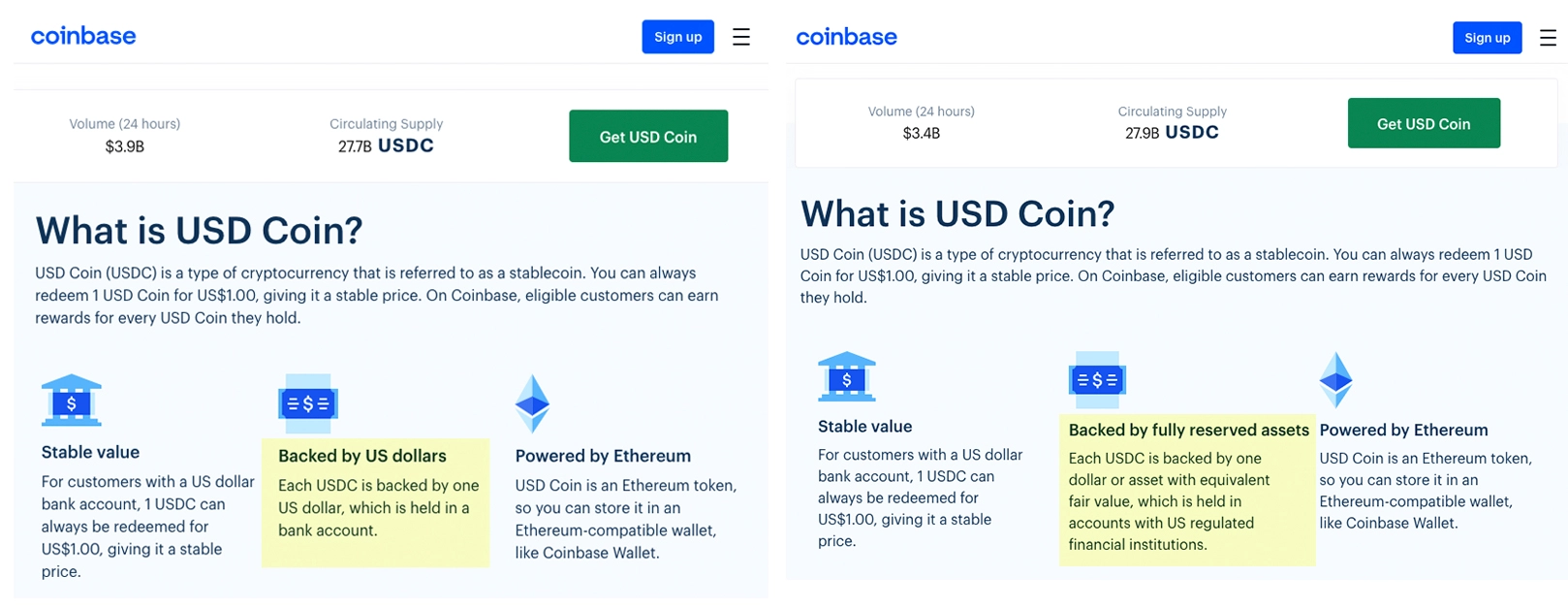 USDC na Coinbase